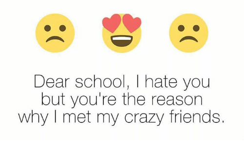 Funny, Mets, and I Hate You: Dear school, I hate you  but you're the reason  why met my crazy friends.