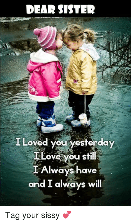 DEAR SISTER I Loved You Yesterday Love You Still I Always
