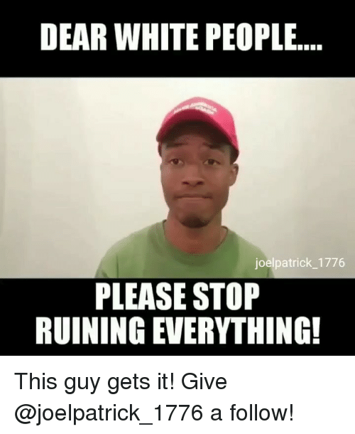 Memes, White People, and White: DEAR WHITE PEOPLE  joelpatrick_1776  PLEASE STOP  RUINING EVERYTHING! This guy gets it! Give @joelpatrick_1776 a follow!