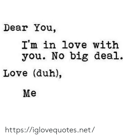 Love, Net, and Big: Dear You.  I'm in love with  you. No big deal.  Love (duh),  Me https://iglovequotes.net/