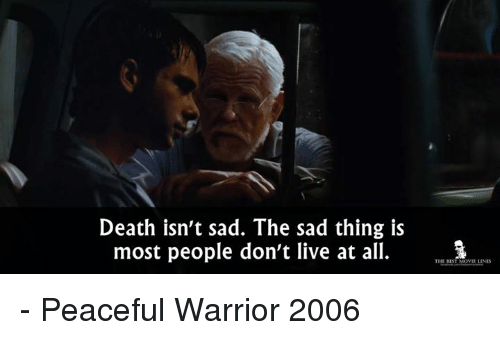 Memes, Death, and Live: Death isn't sad. The sad thing is  most people don't live at all.  THE REST MOWIE LINES - Peaceful Warrior 2006