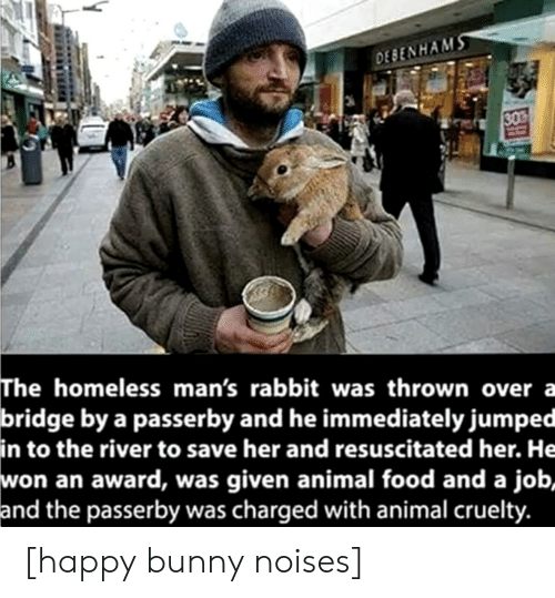 Food, Homeless, and Animal: DEBENHAMS  30  The homeless man's rabbit was thrown over a  bridge by a passerby and he immediately jumped  in to the river to save her and resuscitated her. He  won an award, was given animal food and a job,  and the passerby was charged with animal cruelty. [happy bunny noises]