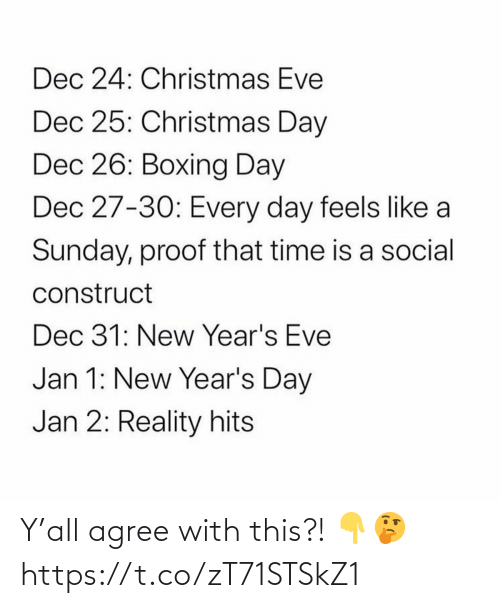 Boxing, Christmas, and Time: Dec 24: Christmas Eve  Dec 25: Christmas Day  Dec 26: Boxing Day  Dec 27-30: Every day feels like a  Sunday, proof that time is a social  construct  Dec 31: New Year's Eve  Jan 1: New Year's Day  Jan 2: Reality hits Y'all agree with this?! 👇🤔 https://t.co/zT71STSkZ1