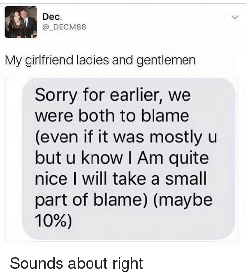 Memes, Sorry, and Quite: Dec.  DECM88  My girlfriend ladies and gentlemen  Sorry for earlier, we  were both to blame  (even if it was mostly u  but u know I Am quite  nice I will take a small  part of blame) (maybe  10%) Sounds about right