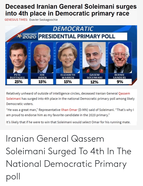 Image result for Suleimani now 4th choice for dem nomination meme