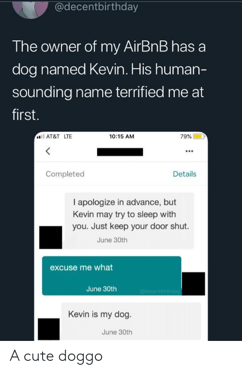 Cute, Airbnb, and At&t: @decentbirthday  The owner of my AirBnB has a  dog named Kevin. His human-  sounding name terrified me at  first.  AT&T LTE  10:15 AM  79%  Completed  Details  I apologize in advance, but  Kevin may try to sleep with  you. Just keep your door shut.  June 30th  excuse me what  June 30th  @decentbirthday  Kevin is my dog.  June 30th A cute doggo