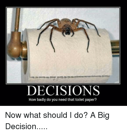 Toilet Paper Funny | Decisions How Badly Do You Need That Toilet Paper Funny Meme On Me Me