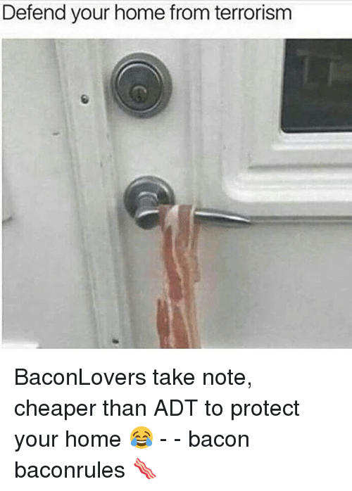Memes, Home, and Terrorism: Defend your home from terrorism BaconLovers take note, cheaper than ADT to protect your home 😂 - - bacon baconrules 🥓