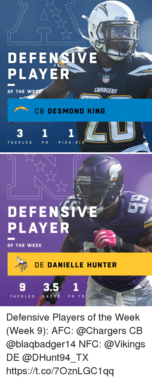Memes, Chargers, and Vikings: DEFENSI VE  PLAYER  CHARGERS  OF THE WE  CB DESMOND KING  3 1 1  TA C K L E S  P D  PICK-S I   DEFENSIVE' 07  PLAYER  OF THE WEEK  DE DANIELLE HUNTER  9 3.5 1 Defensive Players of the Week (Week 9):  AFC: @Chargers CB @blaqbadger14  NFC: @Vikings DE @DHunt94_TX https://t.co/7OznLGC1qq