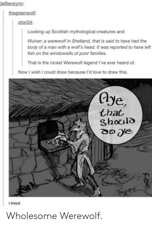 Head, Love, and Fish: defilerwyrm:  thegreenwolf:  xtori34:  Looking up Scottish mythological creatures and  Wulver: a werewolf in Shetland, that is said to have had the  body of a man with a wolf's head. It was reported to have left  fish on the windowsills of poor families.  That is the nicest Werewolf legend l've ever heard of.  Now I wish I could draw because l'd love to draw this.  Aye,  that  Should  Hried Wholesome Werewolf.