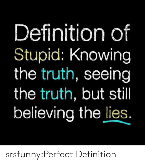 Tumblr, Blog, and Definition: Definition of  Stupid: Knowing  the truth, seeing  the truth, but still  believing the lies srsfunny:Perfect Definition