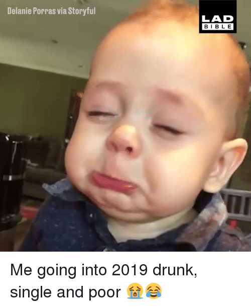 Dank, Drunk, and Single: Delanie Porras via Storyful  LAD  BIBL E Me going into 2019 drunk, single and poor 😭😂