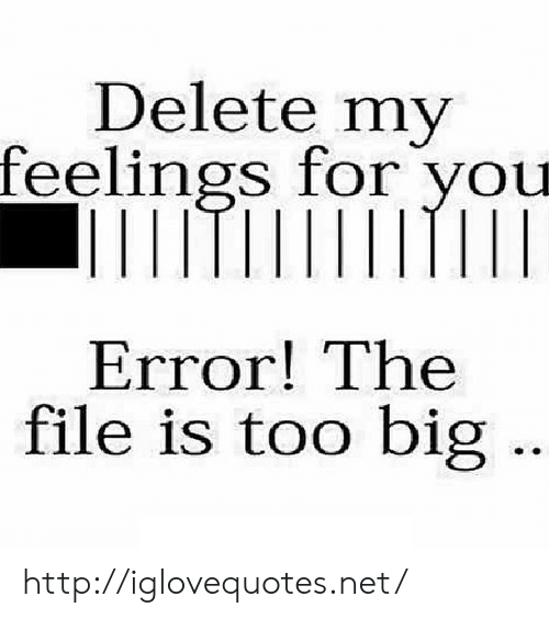 Http, Net, and Big: Delete my  feelings for you  Error! The  file is too big http://iglovequotes.net/