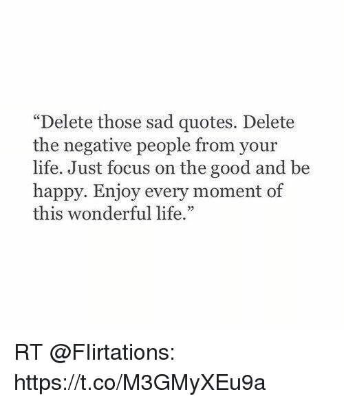 Image of: Funny Life Memes And Focus Funny Delete Those Sad Quotes Delete The Negative People From Your Life