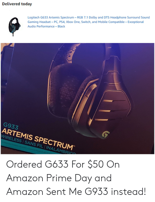 Delivered Today Logitech G633 Artemis Spectrum - RGB 71 Dolby and