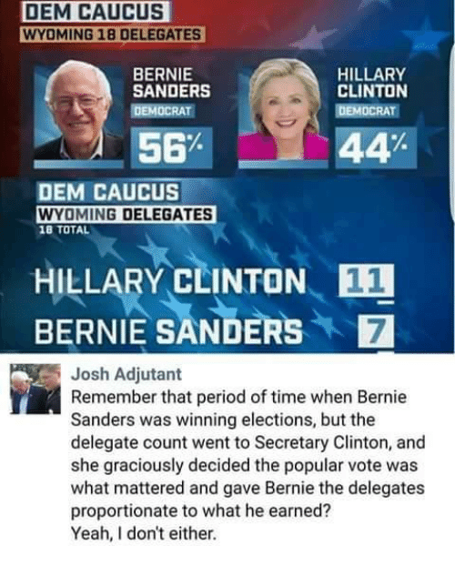 Bernie Sanders, Hillary Clinton, and Memes: DEM CAUCUS  WYOMING 18 DELEGATES  HILLARY  BERNIE  SANDERS  CLINTON  DEMOCRAT  DEMOCRAT  56%  44  DEM CAUCUS  WYOMING DELEGATES  18 TOTAL  HILLARY CLINTON  E1  BERNIE SANDERS Josh Adjutant  Remember that period of time when Bernie  Sanders was winning elections, but the  delegate count went to Secretary Clinton, and  she graciously decided the popular vote was  what mattered and gave Bernie the delegates  proportionate to what he earned?  Yeah, don't either.