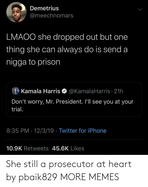 Dank, Iphone, and Memes: Demetrius  @meechnomars  LMAOO she dropped out but one  thing she can always do is send a  nigga to prison  Kamala Harris O @KamalaHarris · 21h  Don't worry, Mr. President. I'll see you at your  trial.  8:35 PM · 12/3/19 · Twitter for iPhone  10.9K Retweets 45.6K Likes She still a prosecutor at heart by pbaik829 MORE MEMES