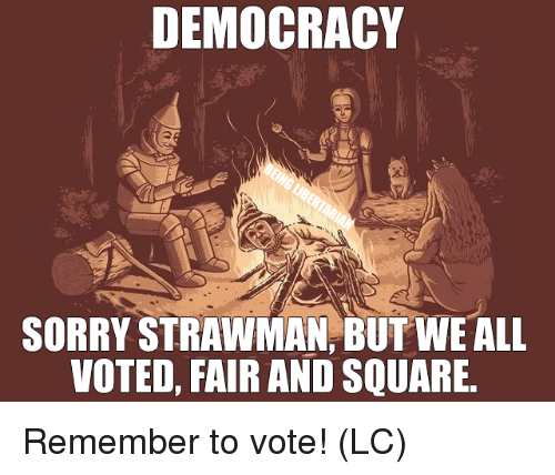 Memes, Sorry, and Square: DEMOCRACY  SORRY STRAWMAN, BUT WE ALL  VOTED, FAIR AND SQUARE Remember to vote! (LC)