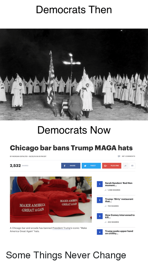 "America, Chicago, and Dirty: Democrats Then  Democrats Now  Chicago bar bans Trump MAGA hats  BY MORGAN GSTALTER-06/25/18 06:19 PM EDT  387 COMMENTS  2,532 sHAR  SHARE  TWEET  G+ PLUS ONE  Sarah Sanders' Red Hen  moment...  1,398 SHARES  MAKE AMERICA  GREAT AGAN  Trump: 'Dirty' restaurant  that...  2  MAKE AMERICA  GREATA GAN  722 SHARES  How Comey intervened to  kill  3  432 SHARES  A Chicago bar and arcade has banned President Trump's iconic ""Make  America Great Again"" hats.  Trump seeks upper hand  on civility..  4"