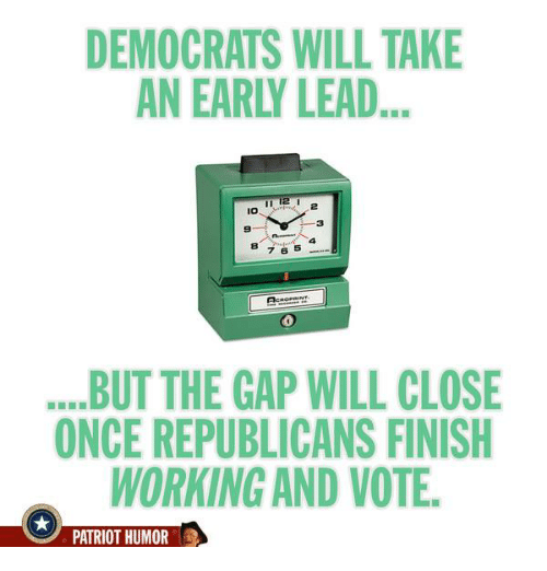Memes, Patriotic, and The Gap: DEMOCRATS WILL TAKE  AN EAR LEAD...  7 6  BUT THE GAP WILL CLOSE  ONCE REPUBLICANS FINISH  WORKING AND VOTE.  PATRIOT HUMOR