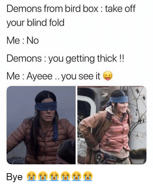 Demons From Bird Box Take Off Your Blind Fold Me No Demons You