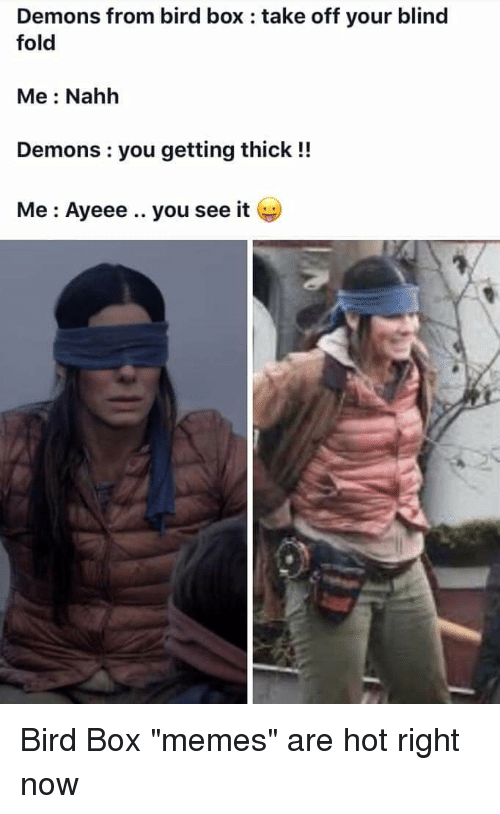Demons From Bird Box Take Off Your Blind Fold Me Nahh Demons You