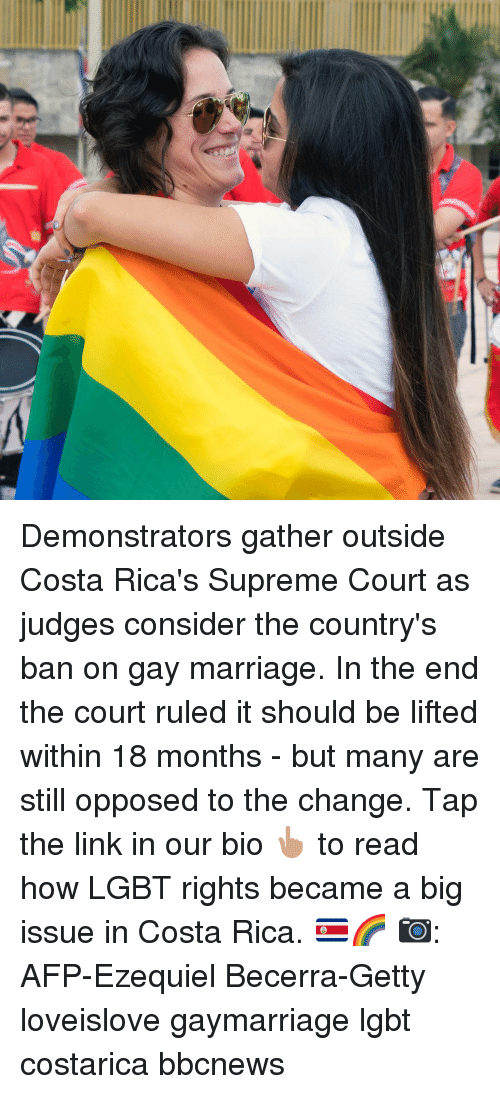 Lgbt, Marriage, and Memes: Demonstrators gather outside Costa Rica's Supreme Court as judges consider the country's ban on gay marriage. In the end the court ruled it should be lifted within 18 months - but many are still opposed to the change. Tap the link in our bio 👆🏽 to read how LGBT rights became a big issue in Costa Rica. 🇨🇷🌈 📷: AFP-Ezequiel Becerra-Getty loveislove gaymarriage lgbt costarica bbcnews
