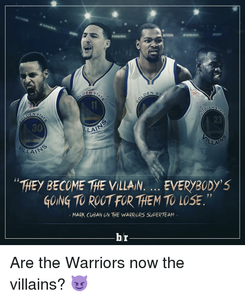 "Sports, Mark Cuban, and Warriors: DENIS  DEN sz  DEN  LAA  LLA  LLAA  ""THEy BECOME THE VILLAIN. EVERYBODY'S  GOING TOROOTFOR THEM TO 77  MARK CUBAN ON THE WARRIORS SUPERTEAM  hr Are the Warriors now the villains? 😈"