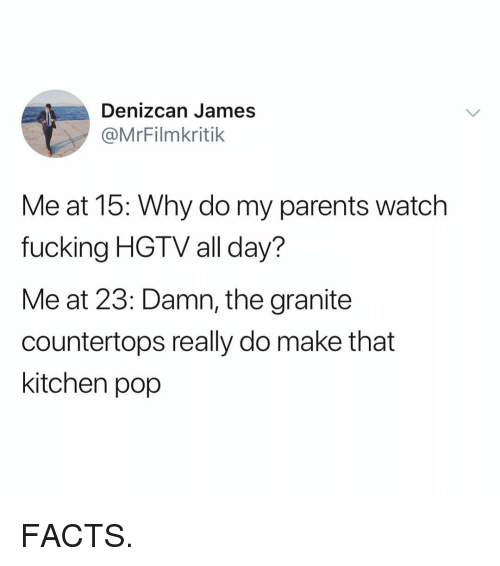 Facts, Fucking, and Funny: Denizcan James  @MrFilmkritik  Me at 15: Why do my parents watch  fucking HGTV all day?  Me at 23: Damn, the granite  countertops really do make that  kitchen pop FACTS.