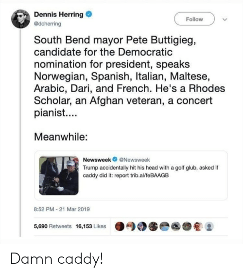Facepalm, Head, and Spanish: Dennis Herring  @dcherring  Follow  South Bend mayor Pete Buttigieg,  candidate for the Democratic  nomination for president, speaks  Norwegian, Spanish, Italian, Maltese,  Arabic, Dari, and French. He's a Rhodes  Scholar, an Afghan veteran, a concert  pianist....  Meanwhile:  Newsweek@Newsweek  Trump accidentally hit his head with a golf glub, asked if  caddy did it: report trib.al/feBAAGB  8:52 PM-21 Mar 2019  5,690 Retweets 16,153 Likes Damn caddy!