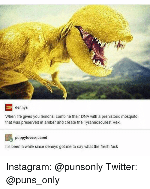 Denny's, Fresh, and Instagram: dennys  When life gives you lemons, combine their DNA with a prehistoric mosquito  that was preserved in amber and create the Tyrannosourest Rex.  puppy lovesquared  It's been a while since dennys got me to say what the fresh fuck Instagram: @punsonly Twitter: @puns_only