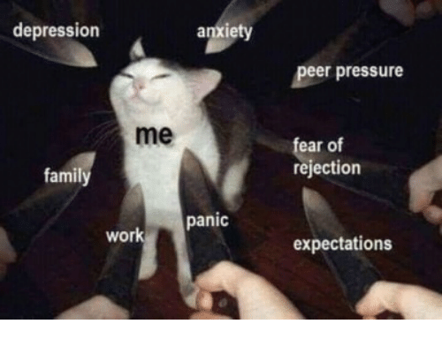 Pressure, Work, and Anxiety: depression  anxiety  peer pressure  me  ear of  rejection  famil  panic  work  expectations