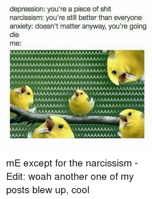 Depression You're a Piece of Shit Narcissism You're Still