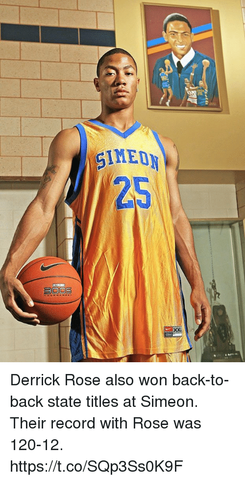 new style e9b24 6f9b8 Derrick Rose Also Won Back-To-Back State Titles at Simeon ...