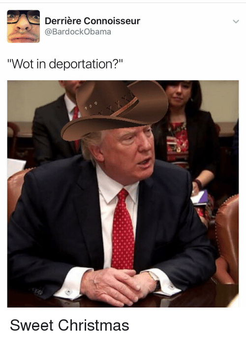 """Christmas, Funny, and Wot: Derriere Connoisseur  BardockObama  """"Wot in deportation?"""" Sweet Christmas"""
