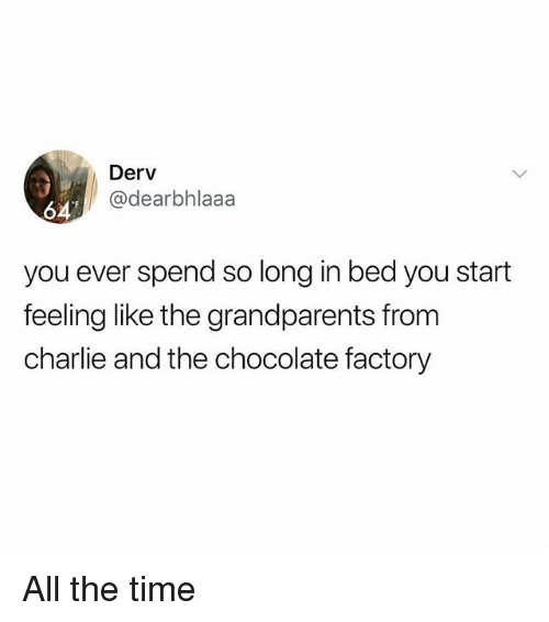 Charlie, Memes, and Chocolate: Derv  @dearbhlaaa  64  you ever spend so long in bed you start  feeling like the grandparents from  charlie and the chocolate factory All the time