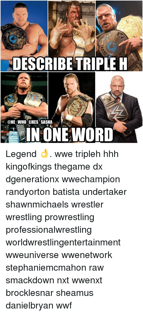 Memes, Wrestling, and Triple H: DESCRIBE TRIPLE H  @HE WHO LIKES SASHA  IN ONE WORD Legend 👌. wwe tripleh hhh kingofkings thegame dx dgenerationx wwechampion randyorton batista undertaker shawnmichaels wrestler wrestling prowrestling professionalwrestling worldwrestlingentertainment wweuniverse wwenetwork stephaniemcmahon raw smackdown nxt wwenxt brocklesnar sheamus danielbryan wwf