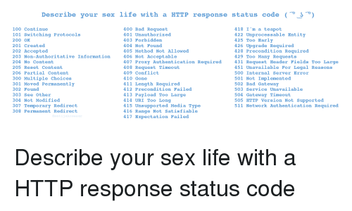 Describe Your Sex Life With a HTTP Response Status Code 100