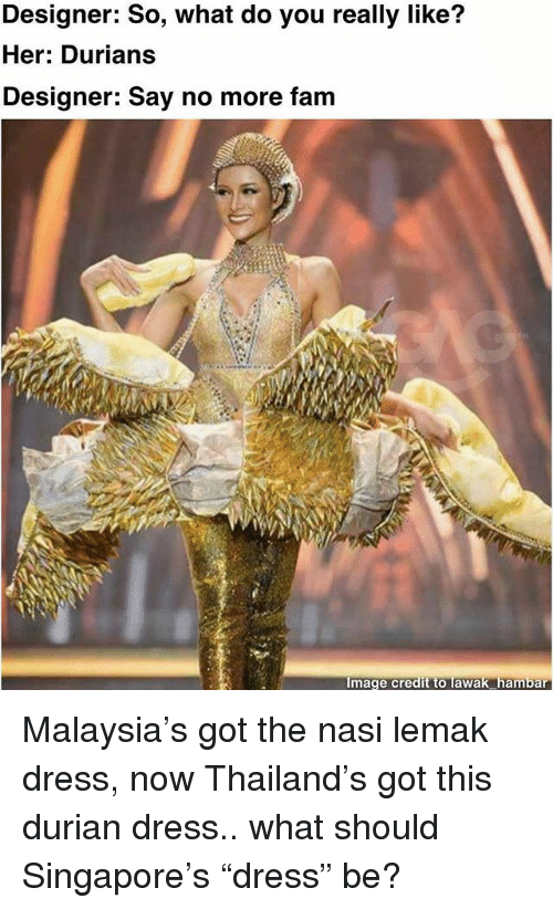 "Fam, Memes, and Dress: Designer: So, what do you really like?  Her: Durians  Designer: Say no more fam  Image credit to lawak hambar Malaysia's got the nasi lemak dress, now Thailand's got this durian dress.. what should Singapore's ""dress"" be?"