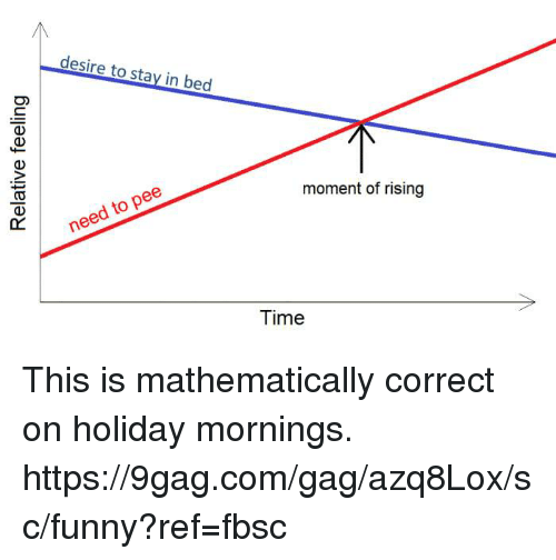9gag, Dank, and Funny: desire to stay in bed  moment of rising  need to pee  Time This is mathematically correct on holiday mornings. https://9gag.com/gag/azq8Lox/sc/funny?ref=fbsc