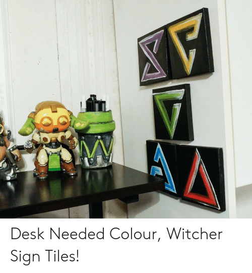 Desk, Witcher, and Sign: Desk Needed Colour, Witcher Sign Tiles!
