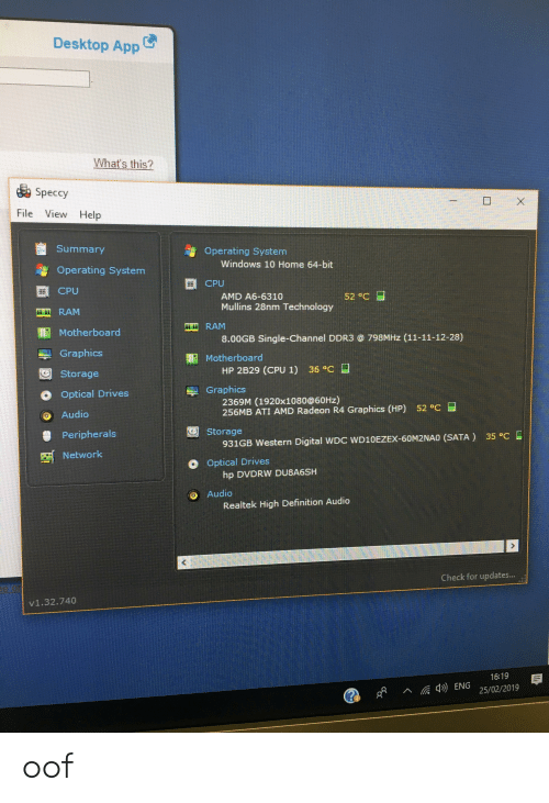 Desktop App What's This? Speccy File View Help Summary Operating