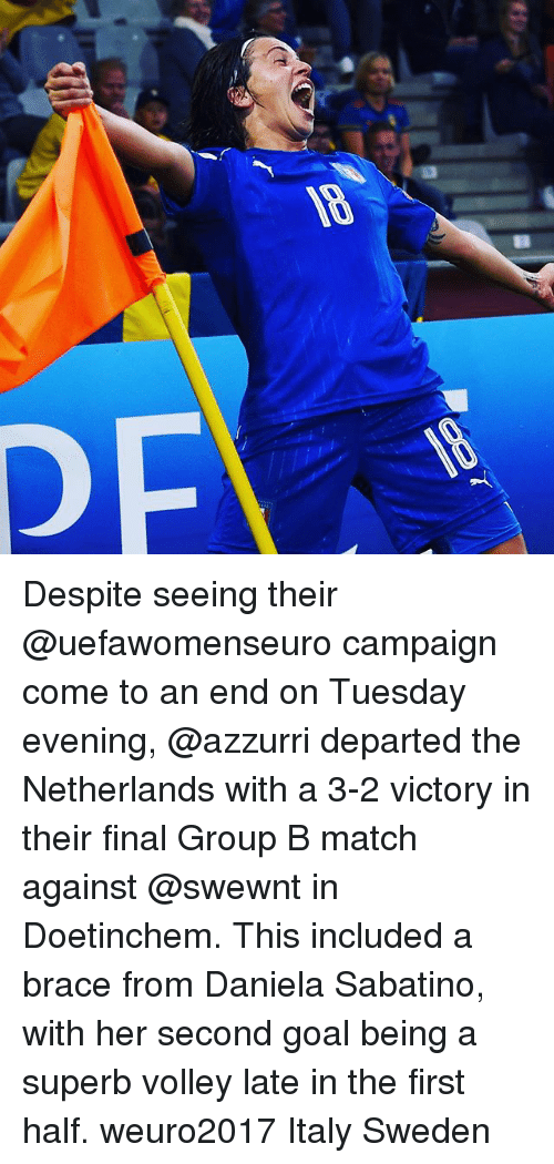 Finals, Goals, and Memes: Despite seeing their @uefawomenseuro campaign come to an end on Tuesday evening, @azzurri departed the Netherlands with a 3-2 victory in their final Group B match against @swewnt in Doetinchem. This included a brace from Daniela Sabatino, with her second goal being a superb volley late in the first half. weuro2017 Italy Sweden​