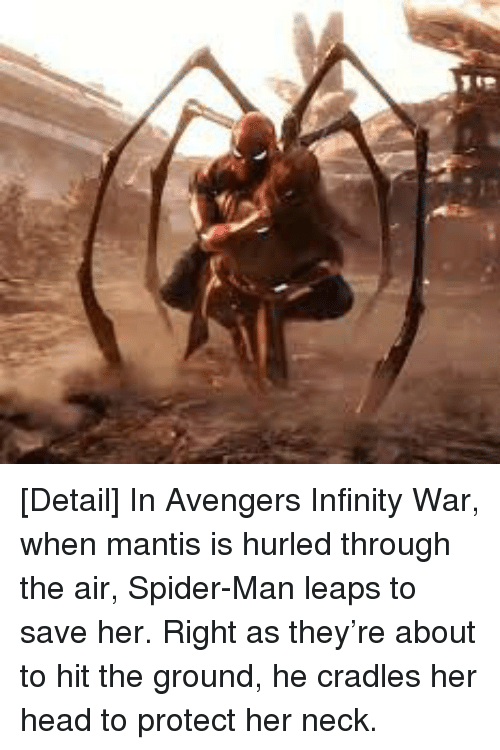 Detail in Avengers Infinity War When Mantis Is Hurled