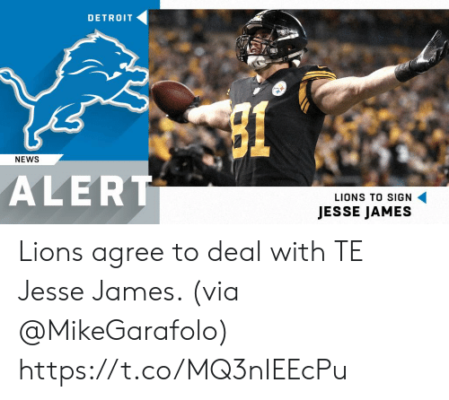 Memes, News, and Lions: DETRO1T  NEWS  ALERT  LIONS TO SIGN  JESSE JAMES Lions agree to deal with TE Jesse James. (via @MikeGarafolo) https://t.co/MQ3nIEEcPu