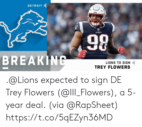 Detroit, Memes, and Break: DETROIT  98  BREAK  LIONS TO SIGN  TREY FLOWERS .@Lions expected to sign DE Trey Flowers (@III_Flowers), a 5-year deal.  (via @RapSheet) https://t.co/5qEZyn36MD