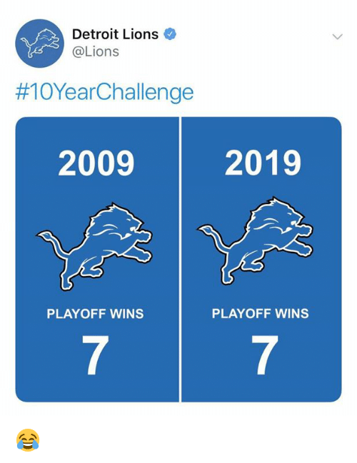 Detroit, Detroit Lions, and Nfl: Detroit Lions  @Lions  #10YearChallenge  2009  2019  PLAYOFF WINS  PLAYOFF WINS  7  7 😂