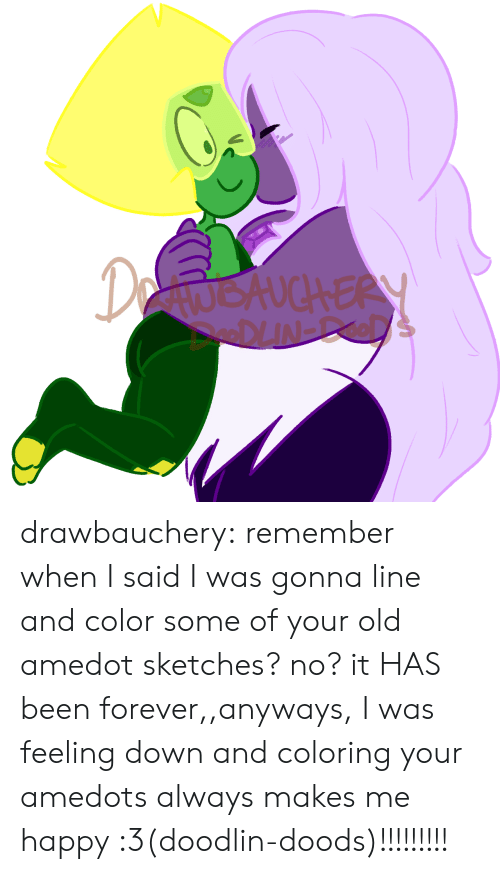 Tumblr, Blog, and Forever: DetwokuchERY drawbauchery:  remember when I said I was gonna line and color some of your old amedot sketches? no? it HAS been forever,,anyways, I was feeling down and coloring your amedots always makes me happy :3(doodlin-doods)!!!!!!!!!