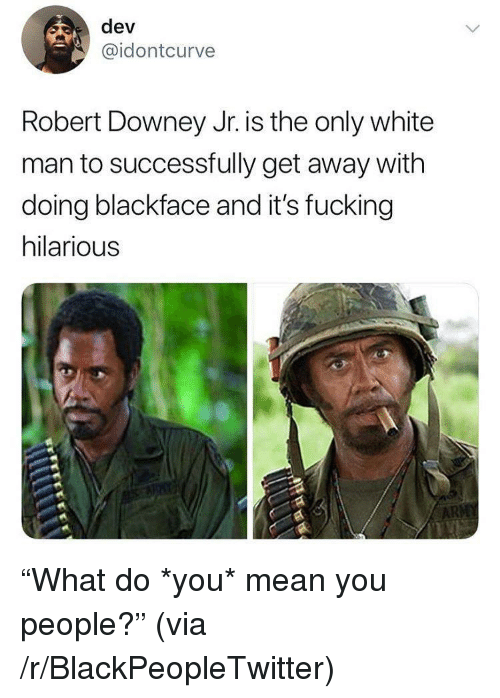 Blackpeopletwitter, Fucking, and Robert Downey Jr.: dev  @idontcurve  Robert Downey Jr. is the only white  man to successfully get away with  doing blackface and it's fucking  hilarious <p>&ldquo;What do *you* mean you people?&rdquo; (via /r/BlackPeopleTwitter)</p>