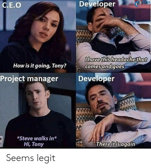 Reddit, How, and Data: Developer  Data  Fla  С.Е.О  Ohave this headache that  comes andgoes  How is it going, Tony?  Developer  Project manager  *Steve walks in*  There itis again  Ні, Tony Seems legit